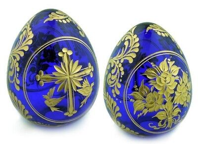 Collectible Blue Russian  Crystal egg Easter Gift Cross Flowers Floral egg AUTHE