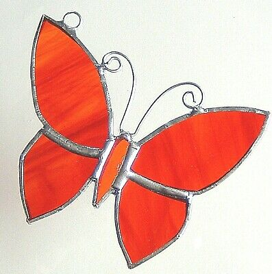 Red Tropical BUTTERFLY stained glass conservatory patio suncatcher collectable