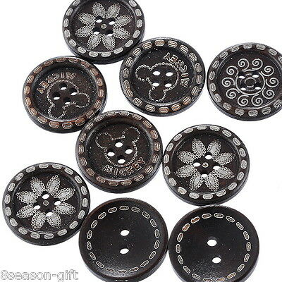 50 Mixed Dark Brown Wood Sewing Buttons Scrapbooking
