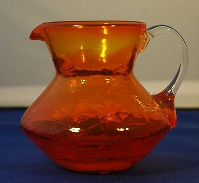 Vintage Crackle Glass Amberina or Tangerine Pitcher w/ Applied Clear Handle