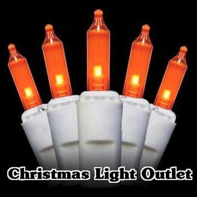 FREE SHIP 100 Orange/Amber Mini Christmas Halloween String Light 27ft White Wire