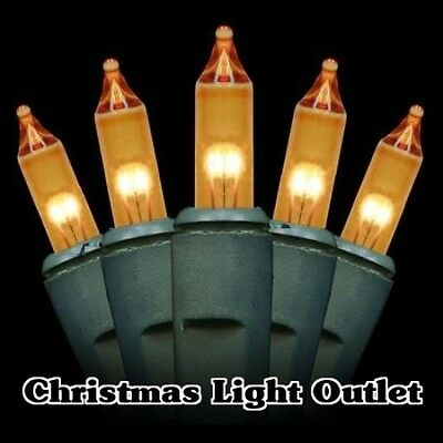 50 Mini Gold/Yellow Outdoor Christmas Party Incandescent Light 14ft Green String