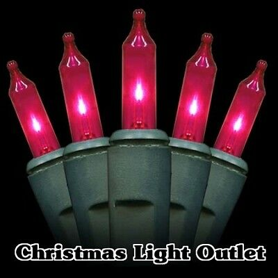 50 Mini Pink In/Outdoor Christmas Party Incandescent Lights Set 14ft Green Wire