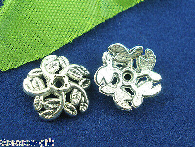100Pcs Silver Tone Flower End Beads Caps 10mm