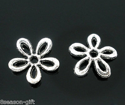 100 Silver Tone Flower Spacers Beads Findings 11x11mm