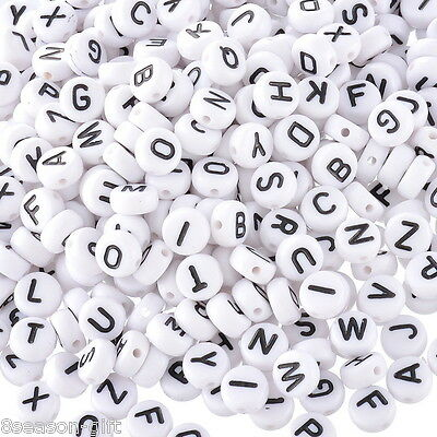 "1000 White Mixed Letter/ Alphabet Acrylic Beads 7mm(1/4"")"