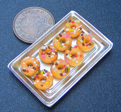 1;12 Scale 8 Orange Iced Donuts On A Metal Tray Dolls House Miniatures Bakery H5