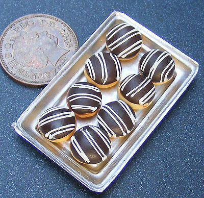 1:12 Scale 8 Loose Chocolate Stripe Doughnuts On A Tray Dolls House Bakery PL134