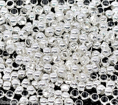 800 Silver Plated Crimp Beads Findings 3.5mm