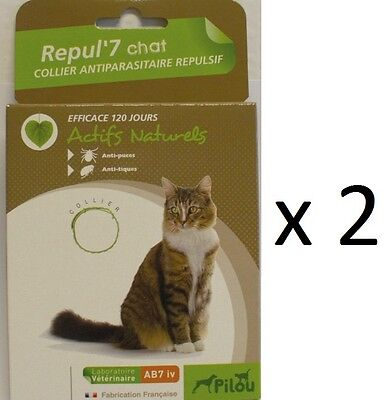 2 COLLIER ANTI TIQUES PUCES POUR CHAT protection maximum