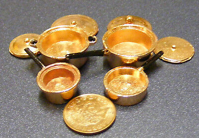1:12 Scale Set Of 4 Copper Saucepans Dolls House Miniature Kitchen Accessory 183