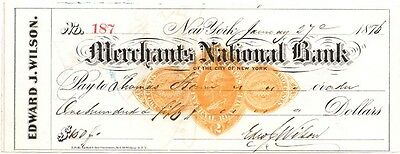 1876 Check, MERCHANTS NATIONAL BANK of The City of New York