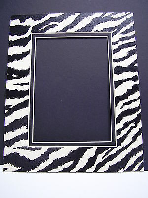Picture Mat Zebra Black Whit11x14 for 8x10 Photo Animal Print Double Mat