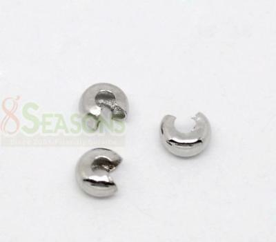 500Pcs Silver Tone Crimp Beads Covers 3mm Wholesale