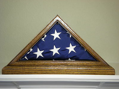 3 X 5 Oak Flag Display Case With Base Capital Eagle Scout Us Military Shadow Box