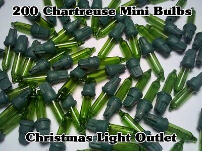 200 CHARTREUSE (Green/Yellow) Replacement Mini Glass Bulb 2.5 Volt Xmas Lights