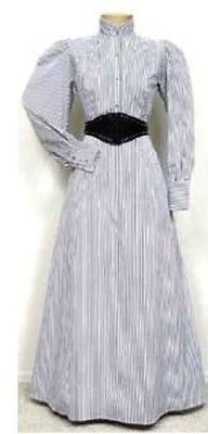 FRONTIER CLASSICS Victorian Black Striped Walking Skirt Dickens SASS Steampunk