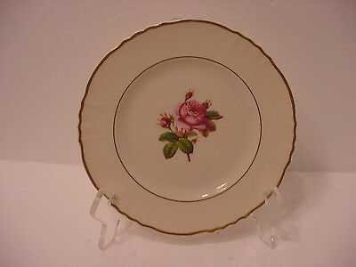 ROSALIE FEDERAL SHAPE SYRACUSE CHINA SALAD PLATE CENTER ROSE  GOLD ACCENT TRIM