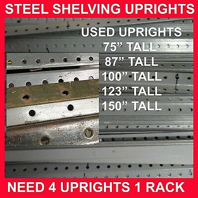 4 Uprights make 5 feet high rack commercial steel shelving slotted angle used