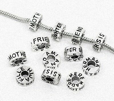 Antique Silver Family or Friend 12mm Tube Large 5mm Hole Charm Bead 1pc - CHOICE