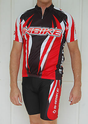 Mens Cycling Bike short Sleeve Jersey knicks pants kit set lambda S/M Red/Black