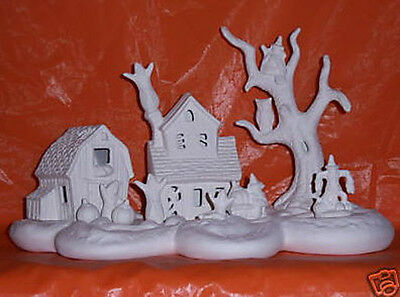 Ceramic Bisque small Halloween Village lights included