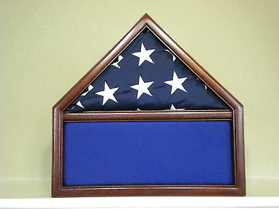 3 X 5 Mahogany Memorabilia & Flag Display Case Usa Military Shadow Box Eagle Sct