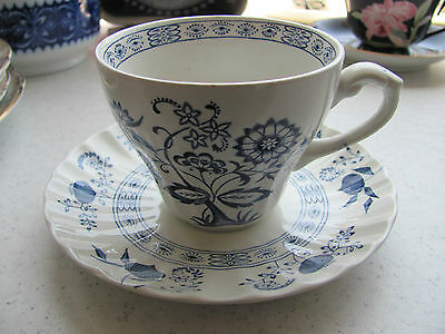 J&G Meakin classic blue nordic onion cup & saucer set England