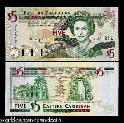 EAST CARIBBEAN STATES ST.KITTS $5 P31K 1994 QUEEN TURTLE UNC GB UK SCARCE NOTE
