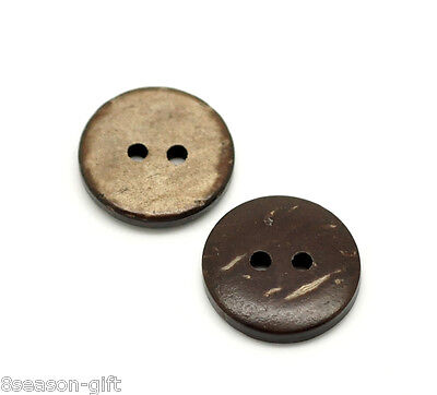 "100PCs Brown Coconut Shell 2 Holes Sewing Buttons Scrapbooking 15mm(5/8"")Dia"