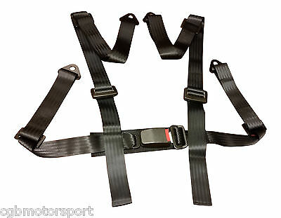 New Sports Racing Harness Seat Belt 3 / 4 Point Fixing Mounting Black