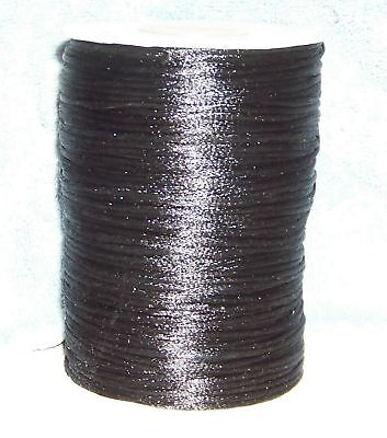 """50 FEET OF BLACK 1/8"""" (2mm) SATIN NECKLACE CORD ONLY $0.10 A FOOT"""