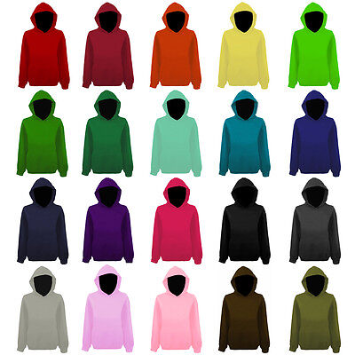 Mens Plain Colour Pullover Hooded Top Hoodie NEW XS-XXL