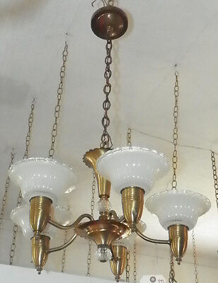 Brass 5 Arm Art Deco Antique Chandlier With Shades 5030