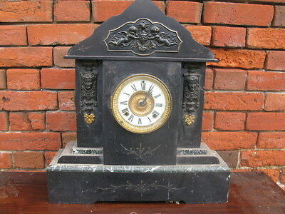 19th Century Large Ansonia Slate and Marble Clock For Restoration