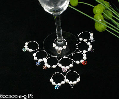 10 Mixed Acrylic Pearl Wine Glass Charms Gifts