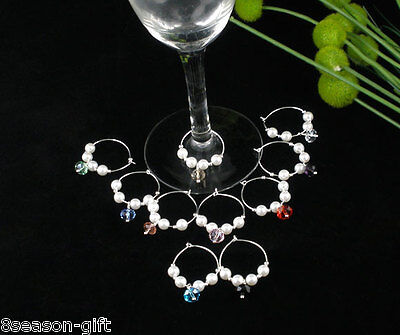 HX 10 Mixed Acrylic Pearl Wine Glass Charms Gifts