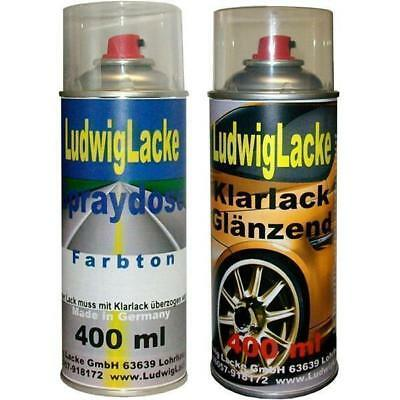 2 Spray im Set 1x Autolack 1x Klarlack 400ml für SEAT Azul Rodano Metallic 423