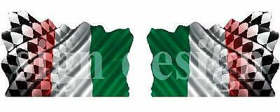 Italian Flag Merged With Chequered Racing Flag Stickers Graphics Decals