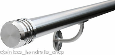 Satin Polished Stainless Steel Metal Stair Bannister Handrail, 3-Groove End Caps