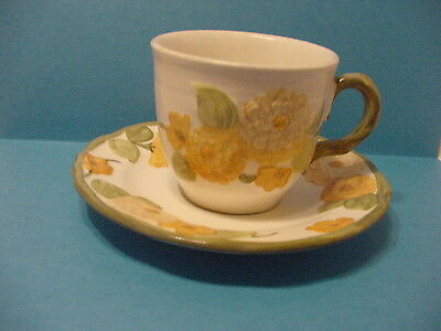 Poppy Trail By Metlox Sculptured Zinnia Cup And Saucer Set Made California U.s.a