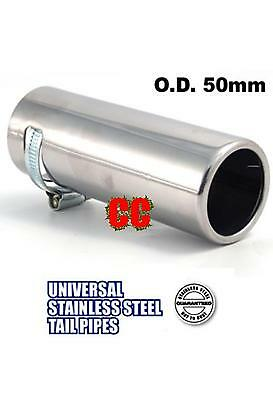 STAINLESS STEEL Car tailpipe Exhaust box Tip Extension Pipe Trim cover 50mm sml