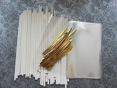 "Cake Pop Kit - 6"" Lollipop Sticks, Cello Bags & Gold Ties"