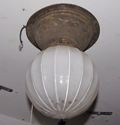 Ceiling Light With Brass Mount And Ribbed Ball Shade 5060