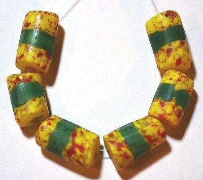 Antique Venetian Yellow & Red Crumb Beads Green Center Stripes, African Trade