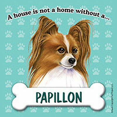 Papillon Dog Magnet Sign House Is Not A Home Brwn