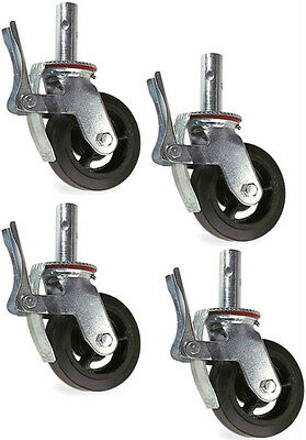 """Set of 4  Scaffold Casters with 8"""" x 2"""" Black Rubber Mold-on Steel Wheel & Brake"""