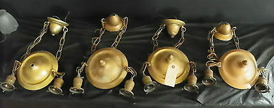 4 Antique Industrial Hub Cap Ceiling Lights W/ Sockets And Fitter 4250