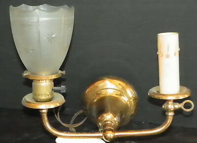 Antique Brass Gas And Electric Sconce With Shade 390