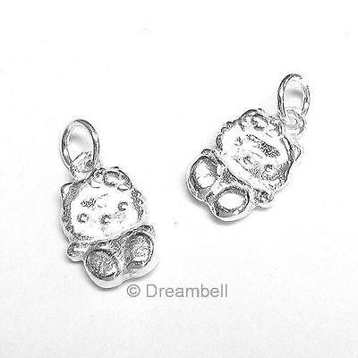 2x Bright Sterling Silver Kitty Cat Dangle Bead Charm Pendant SCP346W